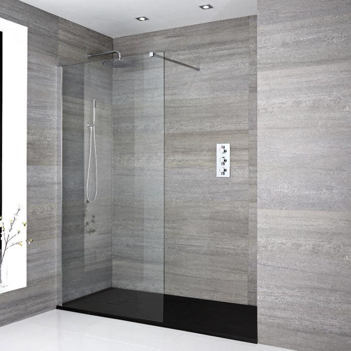 Portland Vertiefte Walk-In Dusche mit Duschtasse in Stein-Optik - Wählbare Größe & Farbe
