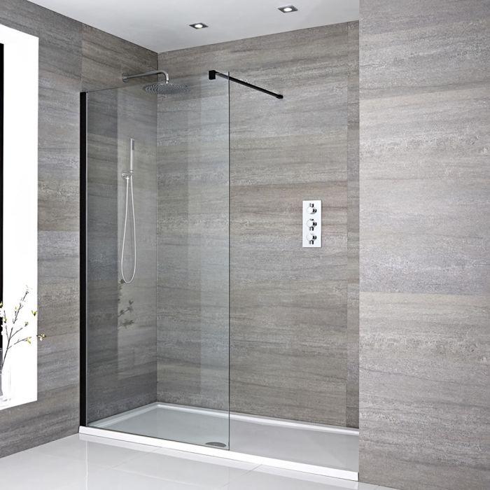 Walk-In Dusche, Schwarz, für Nische – inkl. weißer Duschwanne – Größe wählbar – Nox