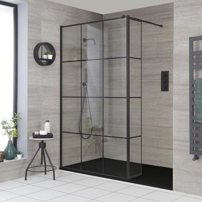Walk-In Duschwand mit Gittermuster und Seitenpaneel, für Nische - inkl. Duschwanne mit Schiefer-Effekt (Finish wählbar) – wählbare Größen – Barq