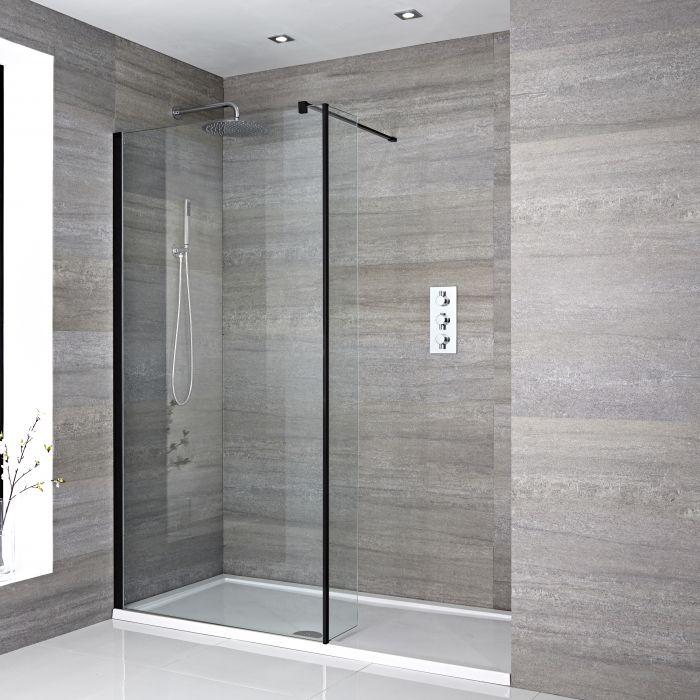 Walk-In Dusche mit Seitenpaneel, Schwarz, für Nische – inkl. weißer Duschwanne – Größe wählbar – Nox