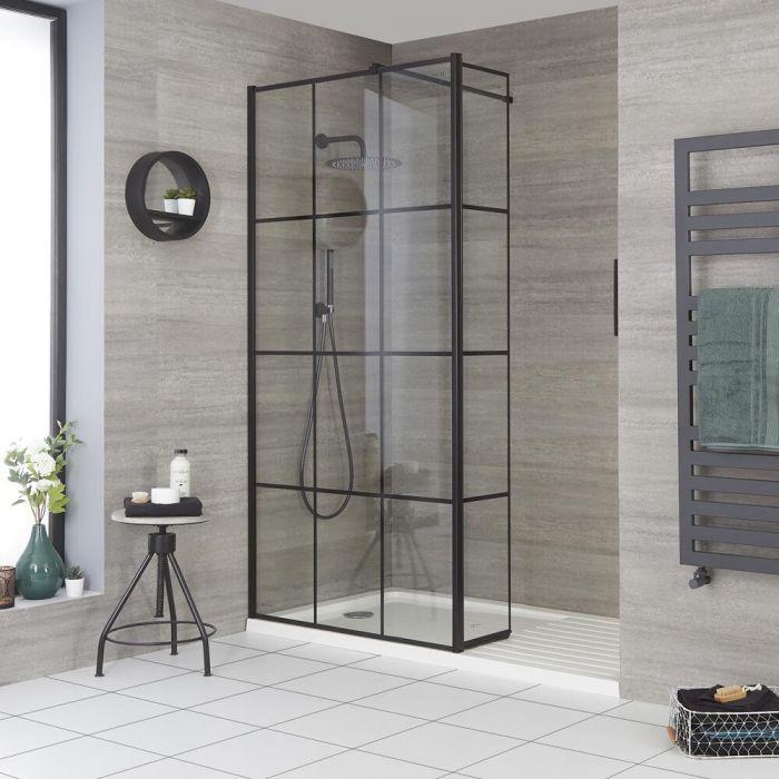 Walk-In Dusche, Gittermuster, mit Duschwanne und Seitenteil,  Größe wählbar - Barq
