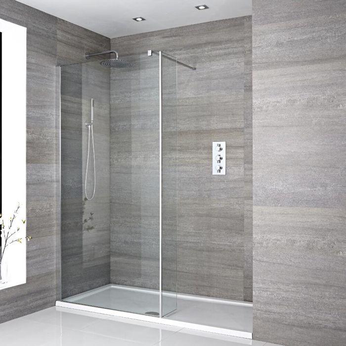 Walk-In Duschwand mit Seitenpaneel, Chrom, für Nische - inkl. weißer Duschwanne mit niedrigem Profil – wählbare Größe – Portland