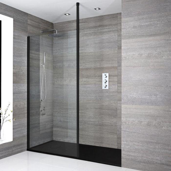 Walk-In Duschwand, Schwarz, für Nische - inkl. Duschwanne mit Schiefer-Effekt (Finish wählbar) – wählbare Größe – Nox