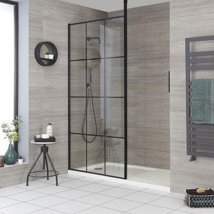 Walk-In Duschwand mit Gittermuster, für Nische - inkl. weißer Duschwanne mit niedrigem Profil – wählbare Größe – Barq
