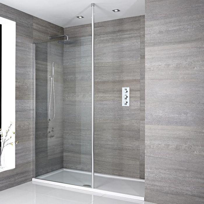 Walk-In Duschwand, Chrom, für Nische - inkl. weißer Duschwanne mit niedrigem Profil – wählbare Größe – Sera