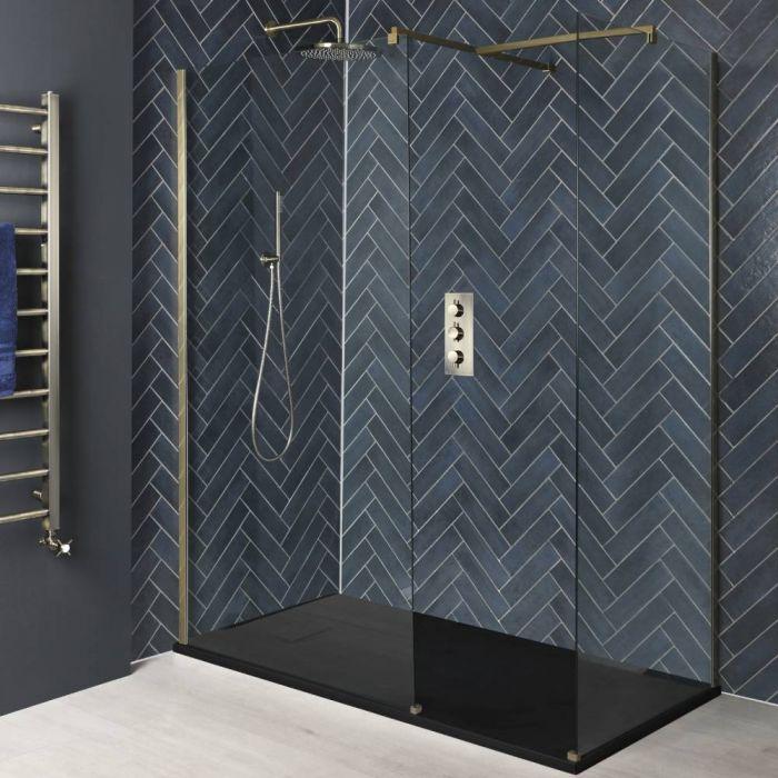 Walk-In Dusche, Mattgold, für Eckeinbau - inkl. Duschwanne mit Schiefer-Effekt (Finish wählbar) – Größe wählbar – Alice
