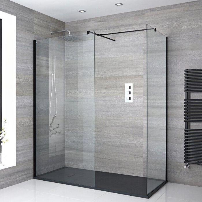 Walk-In Dusche, Schwarz, für Eckeinbau – inkl. Duschwanne mit Schiefer-Effekt (Finish wählbar) – Größe wählbar – Nox