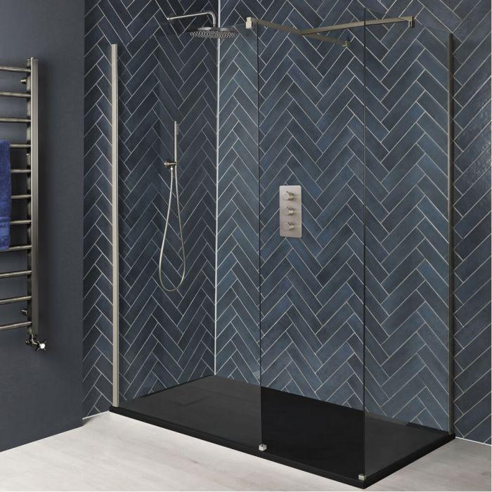 Walk-In Dusche, gebürstetes Nickel, für Eckeinbau - inkl. Duschwanne mit Schiefer-Effekt (wählbares Finish) - wählbare Größe - Harting