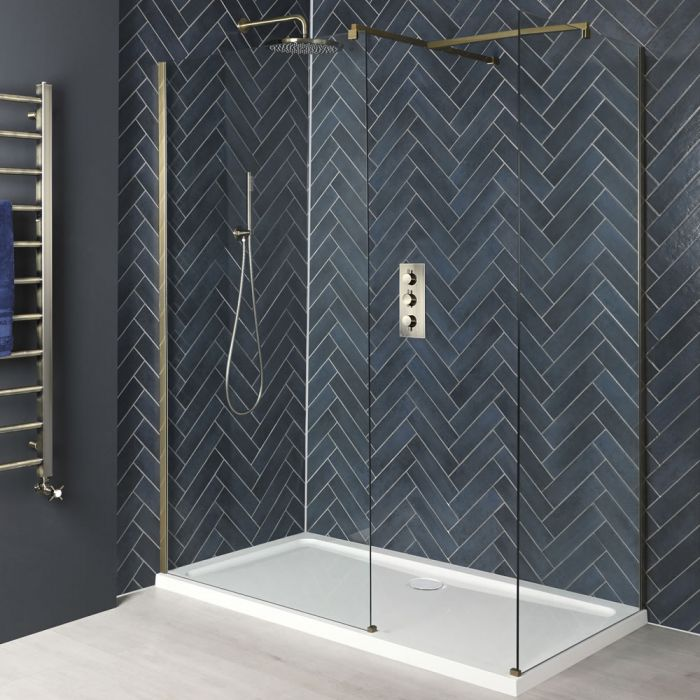 Walk-In Dusche, Mattgold, für Eckeinbau - inkl. weißer Duschwanne - Größe wählbar  - Alice