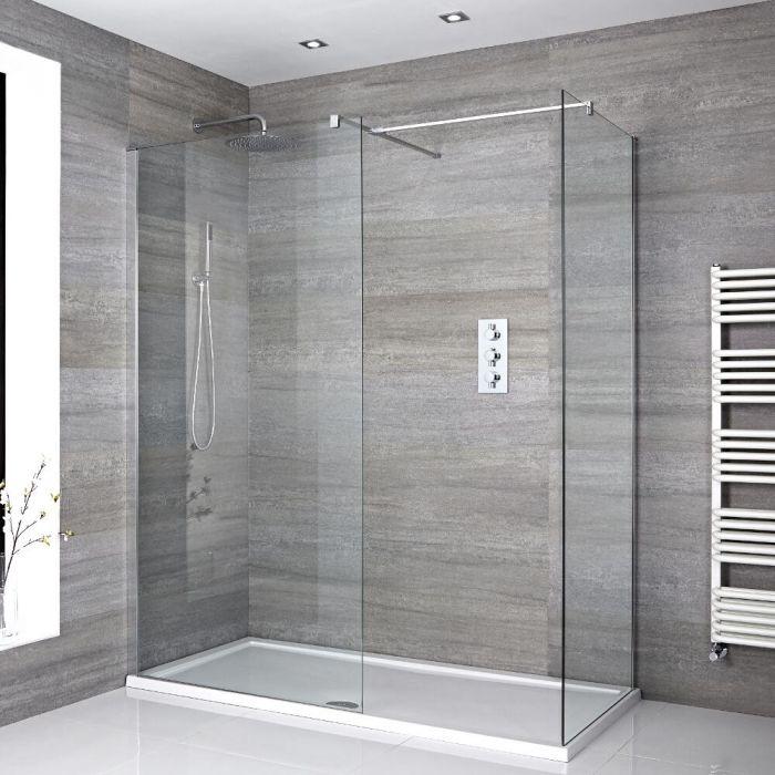 Walk-In Dusche, Chrom, für Eckeinbau – inkl. weißer Duschwanne – Größe wählbar – Portland