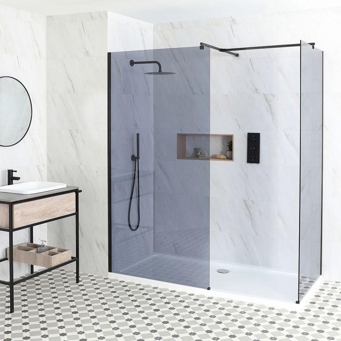 Getönte Walk-In Dusche, Schwarz, für Eckeinbau - inkl. Duschwanne mit niedrigem Profil – wählbare Größe – Nox-Luna