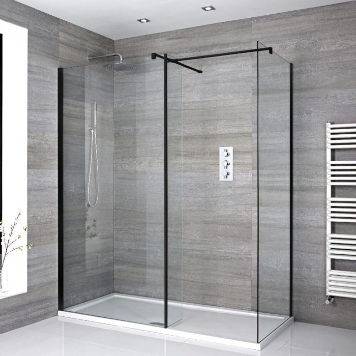 Walk-In Dusche mit Seitenpaneel, Schwarz, für Eckeinbau – inkl. weißer Duschwanne – Größe wählbar – Nox