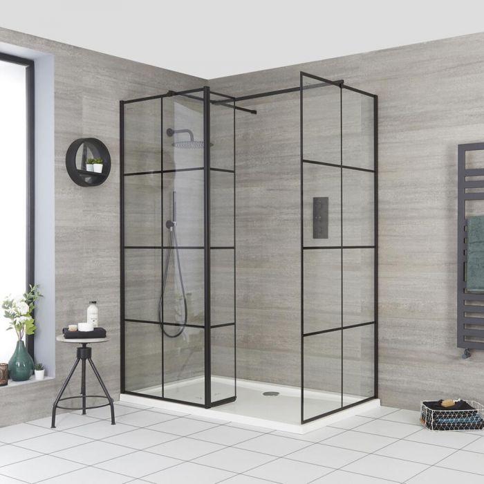 Walk-In Dusche mit Gittermuster und Seitenpaneel, für Eckeinbau - inkl. Duschwanne mit niedrigem Profil – wählbare Größe – Barq