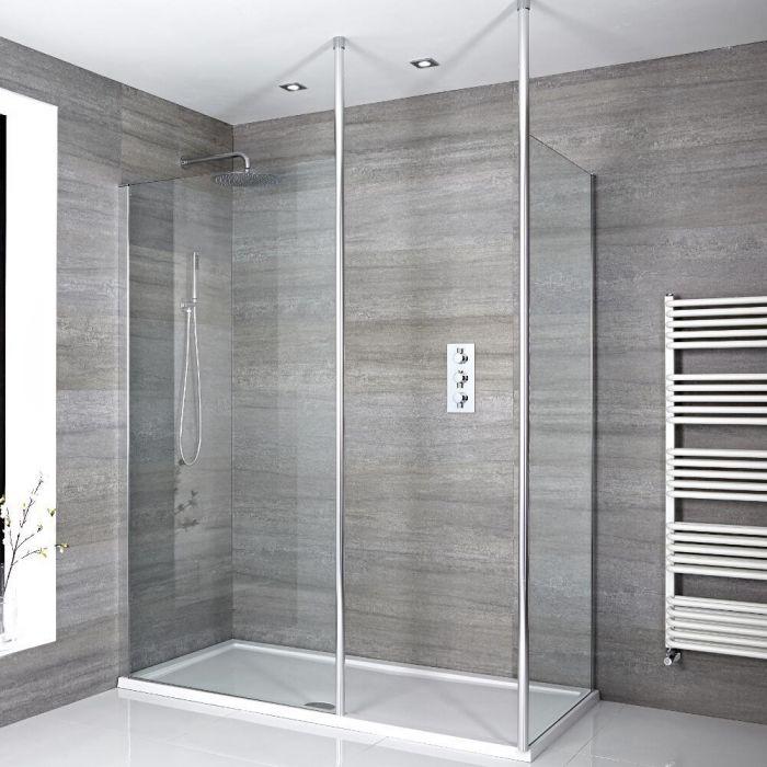 Walk-In Dusche, Chrom, für Eckeinbau - inkl. weißer Duschwanne mit niedrigem Profil – wählbare Größe - Sera