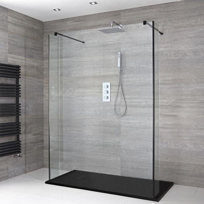 Walk-In Dusche mit Seitenpaneelen, Schwarz, freistehend – inkl. Duschwanne mit Schiefer-Effekt (Finish wählbar) – Größe wählbar – Nox