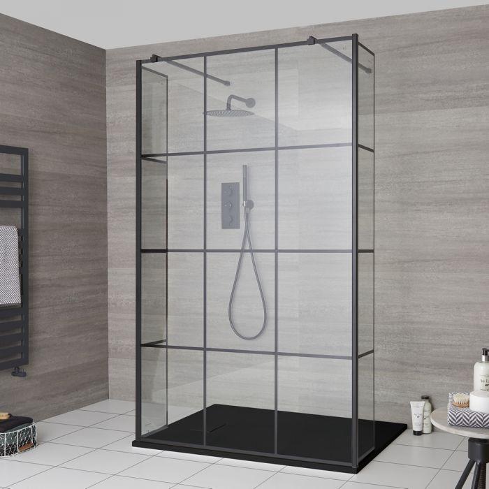 Walk-In Duschwand mit Gittermuster und Seitenpaneel, freistehend - inkl. Duschwanne mit Schiefer-Effekt (Finish wählbar) – wählbare Größen – Barq