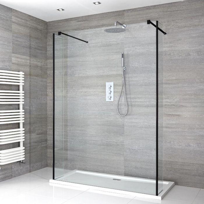 Nox Schwebende Walk-In Dusche mit Duschtasse & Seitenpaneelen - Wählbare Größe