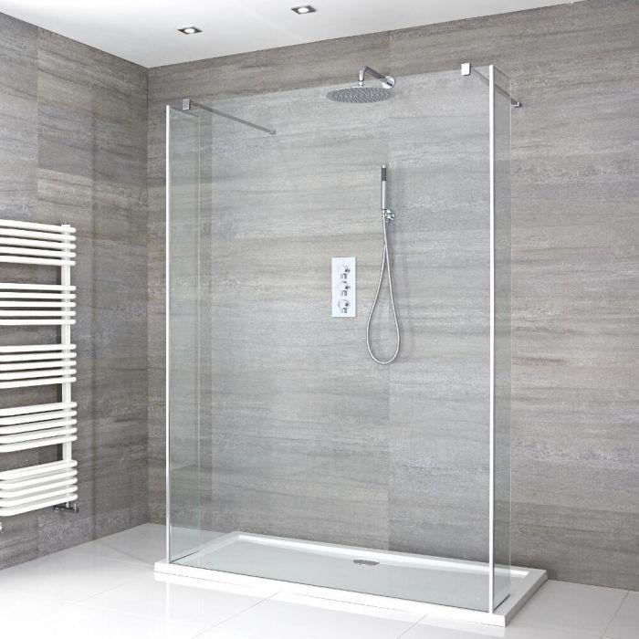 Portland Schwebende Walk-In Dusche mit Duschtasse & Seitenpaneelen - Wählbare Größe