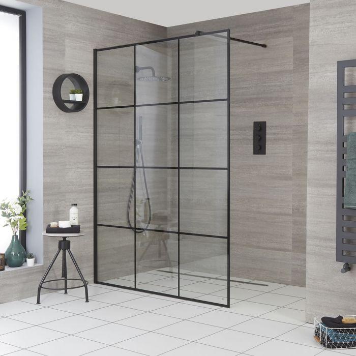 Walk-In Duschwand mit Gittermuster, für Nische – Breite und Duschrinne wählbar – Barq