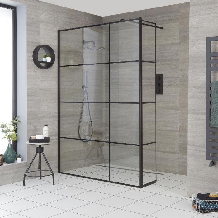 Walk-In Duschwand mit Gittermuster und Seitenpaneel, für Nische – Breite und Duschrinne wählbar – Barq