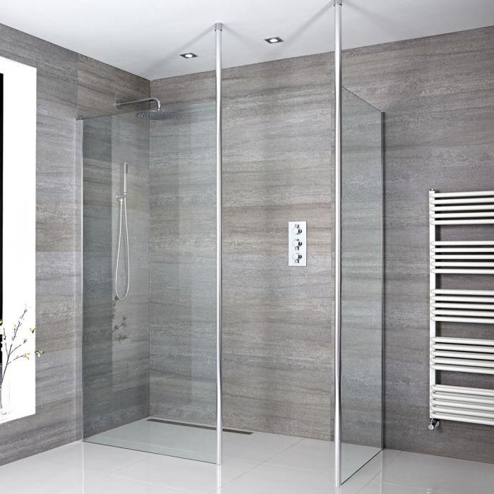Walk-in Dusche mit Rückwand, Größe von Glasscheibe und Ablauf wählbar - Sera