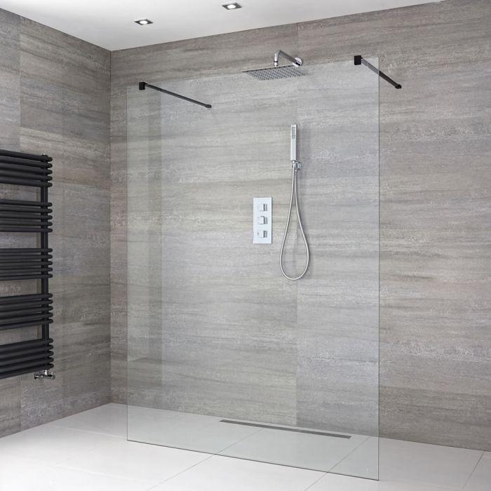 Walk-In Duschwand, Schwarz, freistehend - Breite und Duschrinne wählbar – Nox