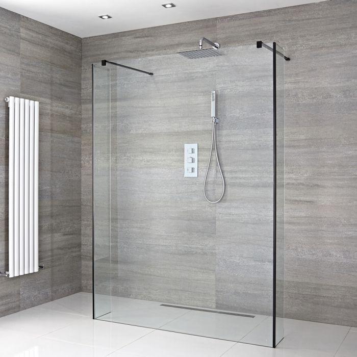 Walk-in begehbare Dusche mit Seitenwand, Größe von Glasscheibe und Ablauf wählbar - Nox