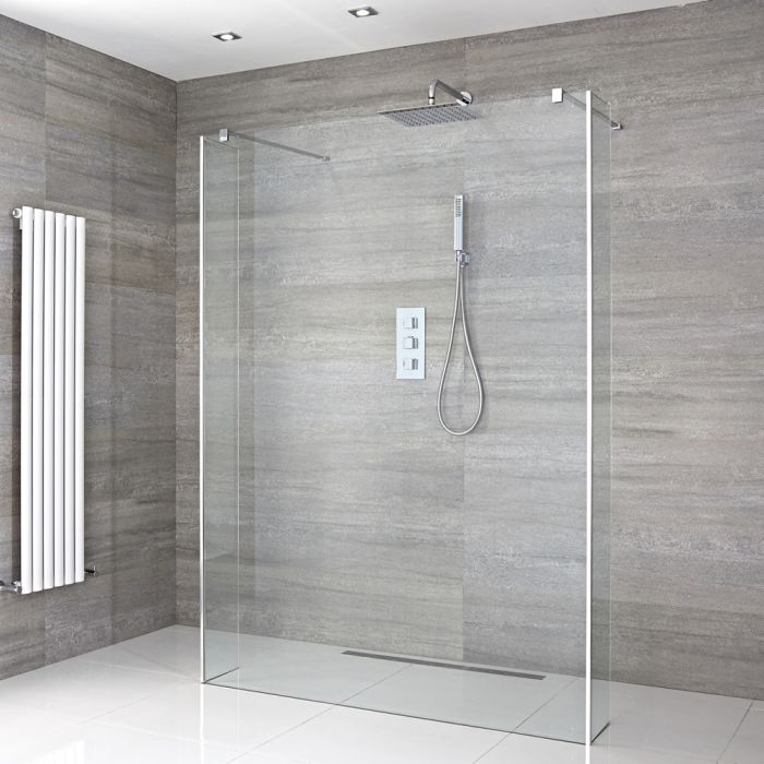 Begehbare Walk-in Dusche mit Seitenteilen, Größe von Duschwand und Ablauf wählbar - Portland