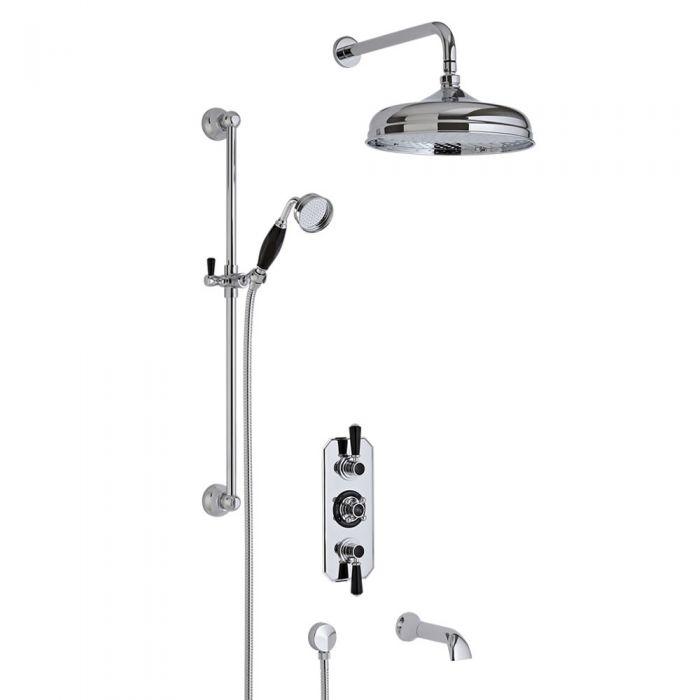 Tripple Unterputzarmatur Duschsystem Nostalgisch mit Wanneneinlass in Chrom und Schwarz