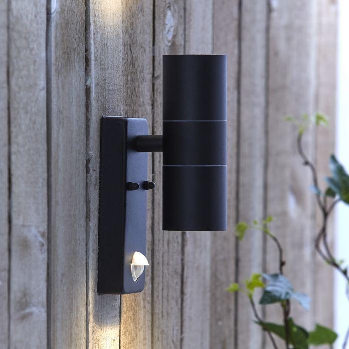 Biard Wandleuchte Zweiseitig Edelstahl IP44 Außenbeleuchtung mit Bewegungsmelder - Schwarz