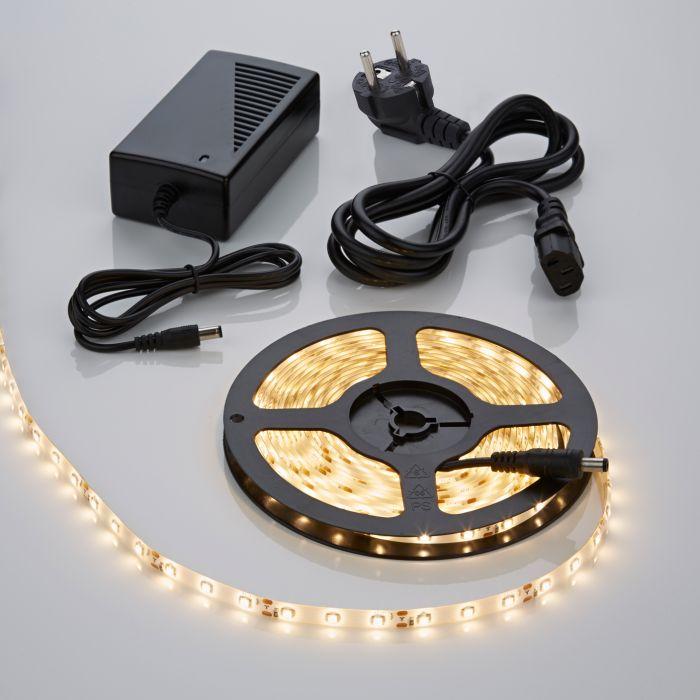 Biard 5m 3528 300 LED Strip Set, warmes Weiß, wasserdicht, inkl. Netzteil