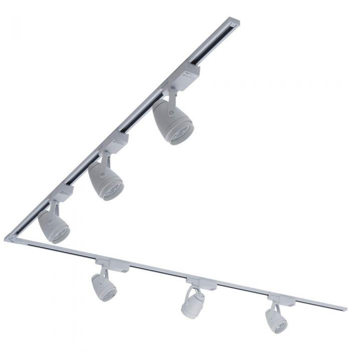 Biard 6x LED Schienenstrahler mit 2x 2m Leiste über Eck Weiß