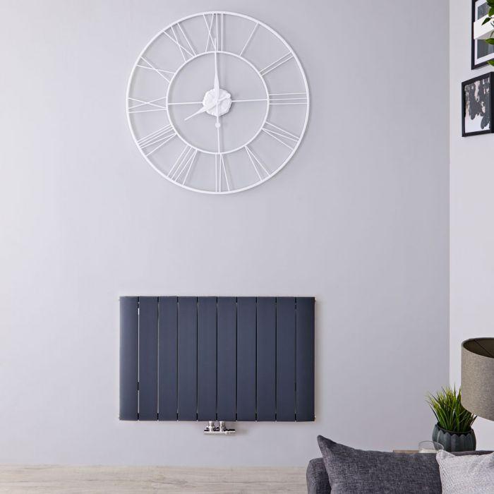 Design Heizkörper Horizontal Einlagig Mittelanschluss - Aluminium Anthrazit 600mm x 945mm 1279W - Aurora