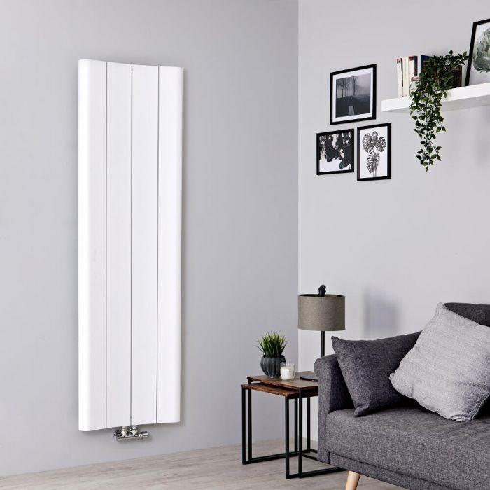 Designer Heizkörper Weiß Vertikal 1600mm x 495mm 1068W Mittelanschluss - Aloa