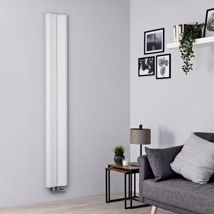Designer Heizkörper Weiß Vertikal 1800mm x 245mm 652W Mittelanschluss - Aloa