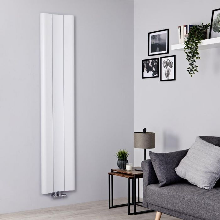 Designer Heizkörper Weiß Vertikal 1800mm x 370mm 978W Mittelanschluss - Aloa