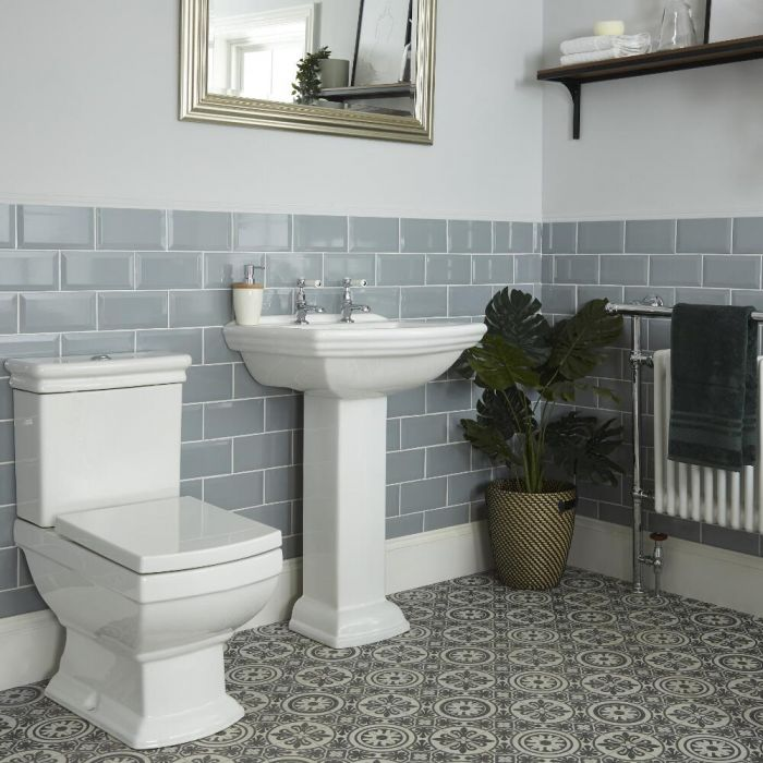 2-Loch Stand-Waschbecken mit Säule und Stand-Toilette Set - Chester