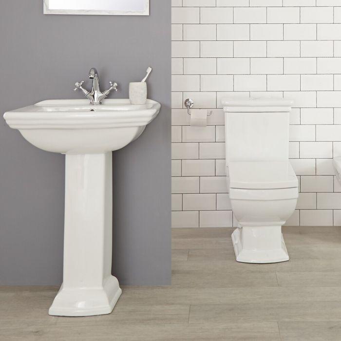 1-Loch Stand-Waschbecken und Toilette Set - Chester