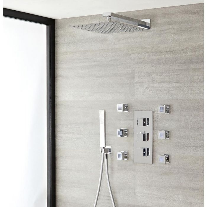 Duschsystem Kubix inkl Kopfbrause, Handbrause, Seitenbrausen & Thermostat Duscharmatur