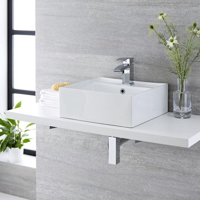 Aufsatzwaschbecken Halwell Quadratisch 400mm x 400mm mit Standarmatur Wick im Set