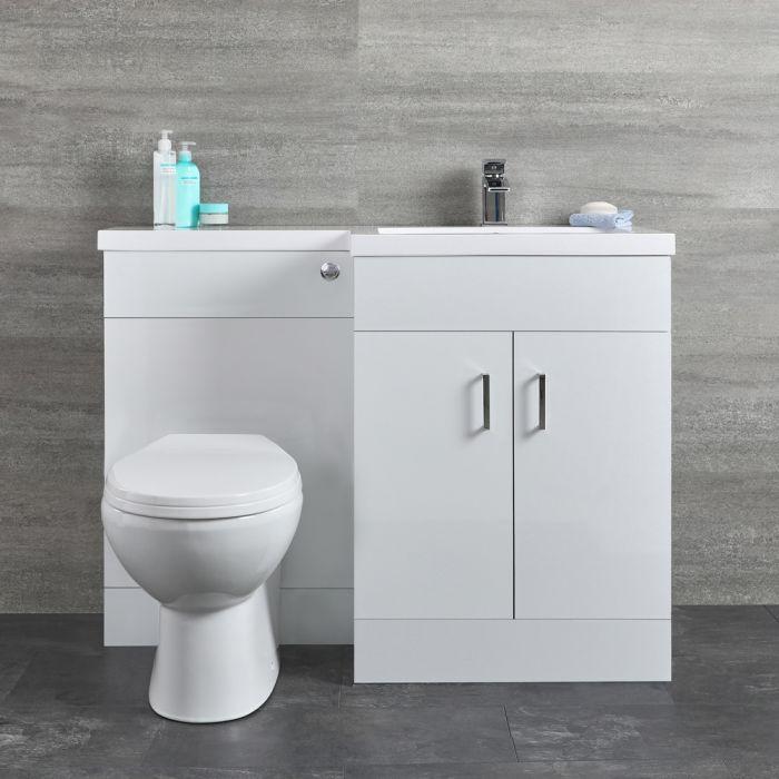 Geo Waschtisch mit Unterschrank Kombi-Set mit Stand WC Weiß, Rechts