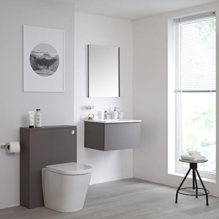 Newington - Waschtisch mit Unterschrank 600mm & WC mit Vorwandelement – Mattgrau