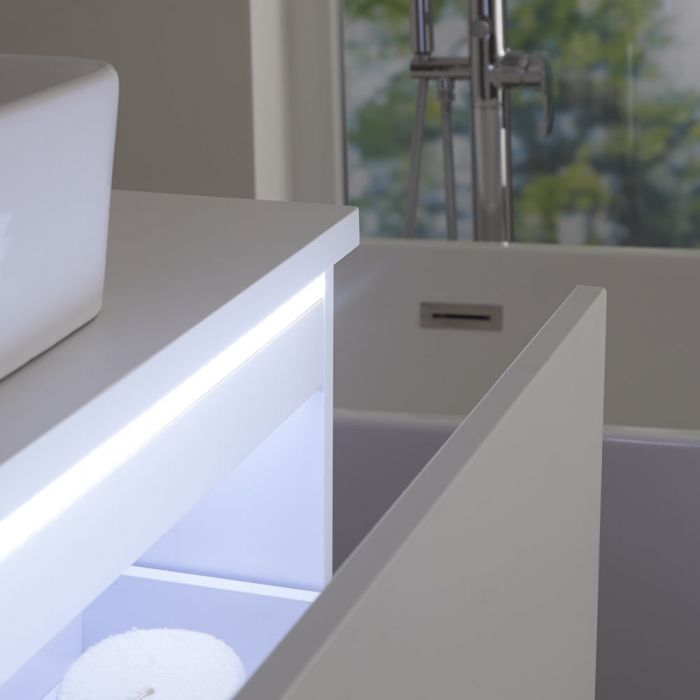 Hudson Reed Newington - quadratisches Aufsatzwaschbecken mit Unterschrank 1000mm - Mattweiß