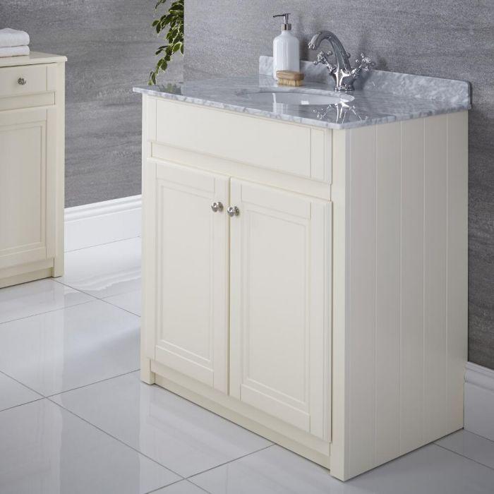Waschtischunterschrank mit Doppelwaschbecken 800mm Elfenbein - Charlton