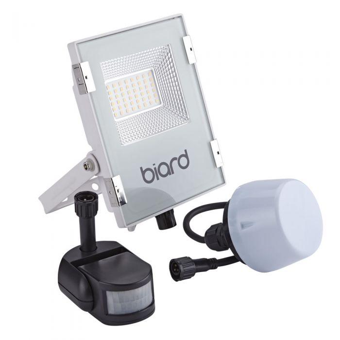 Biard 20W LED Fluter Slimline mit wahlweise Infrarot Bewegungsmelder oder Dämmerungssensor - Weiß
