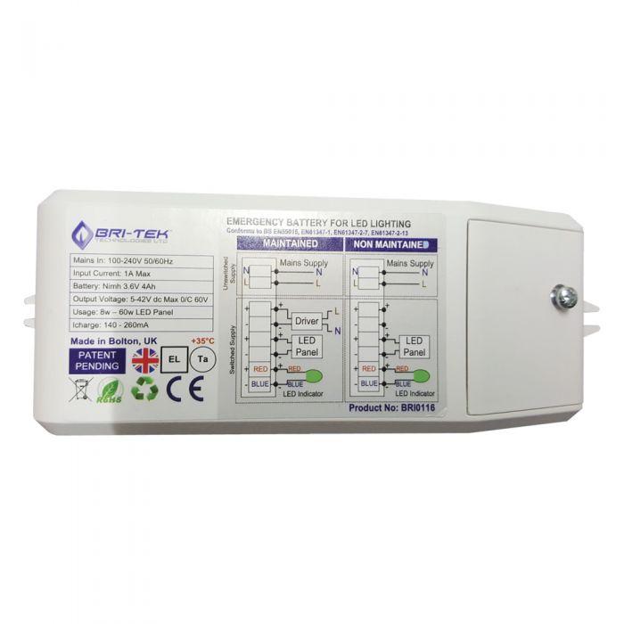 Bri-Tek aufladbare Notfall-Batterie für LED Paneellichter bis zu 60W