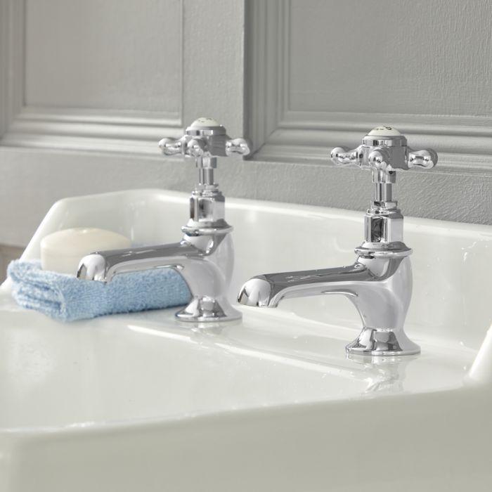 Elizabeth – Traditionelle 2-Loch Kalt-Warm Waschtischhähne mit Kreuzgriffen - Chrom und Weiß