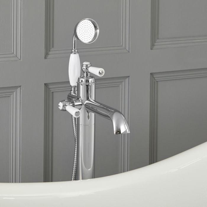 Elizabeth - Traditionelle Freistehende Einloch Badewannenarmatur mit Brause - Chrom und Weiß