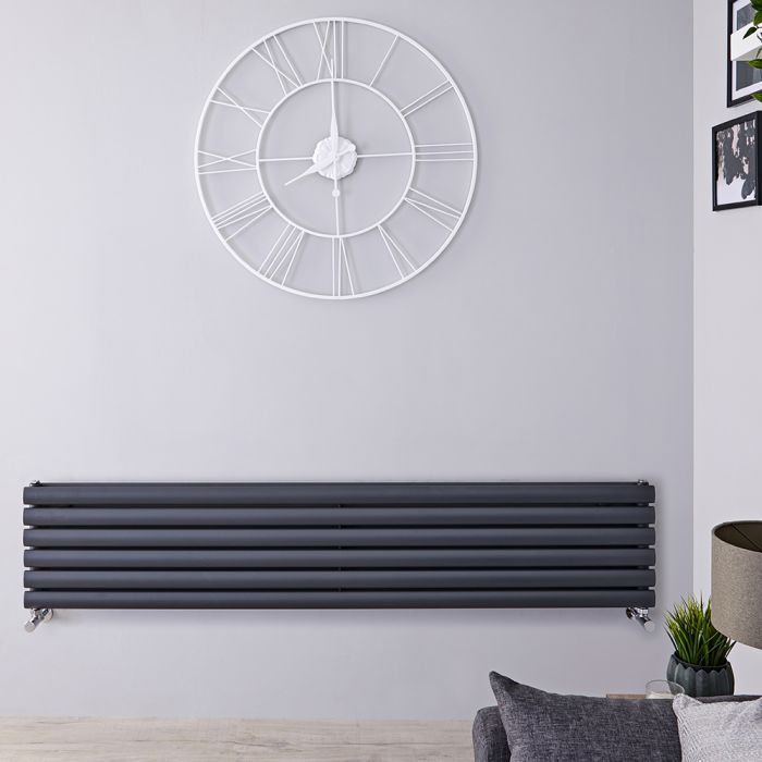 Design Heizkörper Horizontal Doppellagig Anthrazit 354mm x 1600mm 1101W - Revive