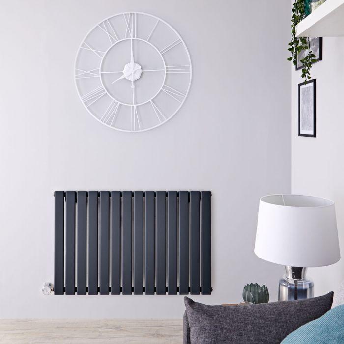 Design Heizkörper Elektrisch Horizontal Einlagig Anthrazit 635mm x 980mm inkl. ein 800W Heizelement - Delta